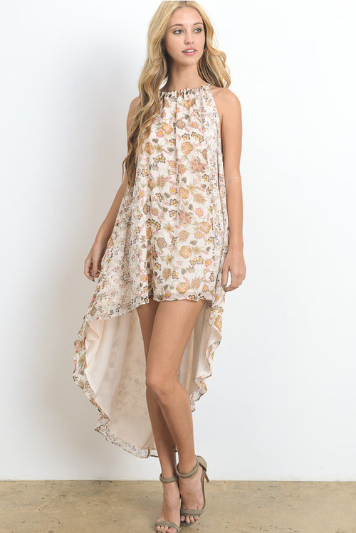 Floral Print High-Low Mini Dress