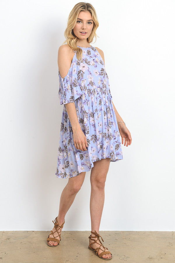 Floral Printed Cold Shoulder Mini Dress