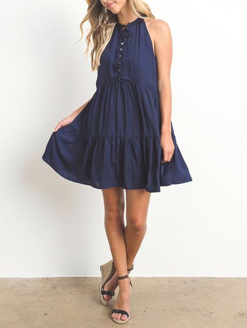 Button Down Solid Mini Dress