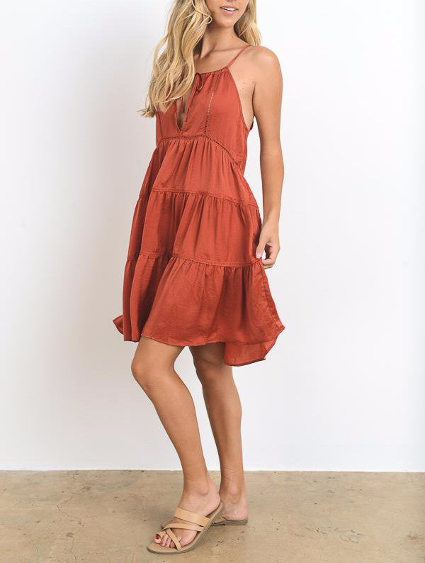 Solid Ruffled Mini Dress