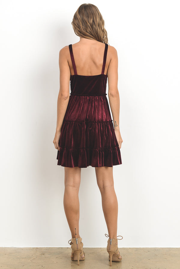 Crushed Velvet Mini Cami Dress