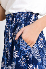 Leaf Printed Ruffle Shorts