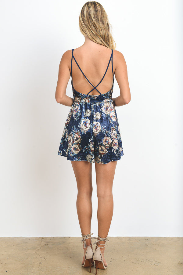 Floral Velvet Mini Romper Dress