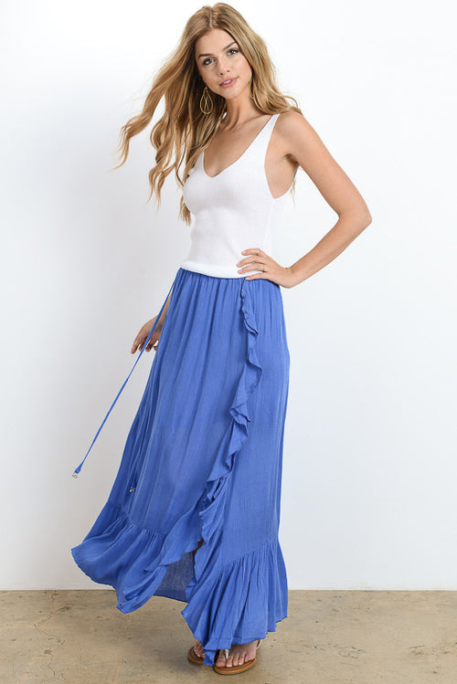 Slit Side Solid Maxi Skirt