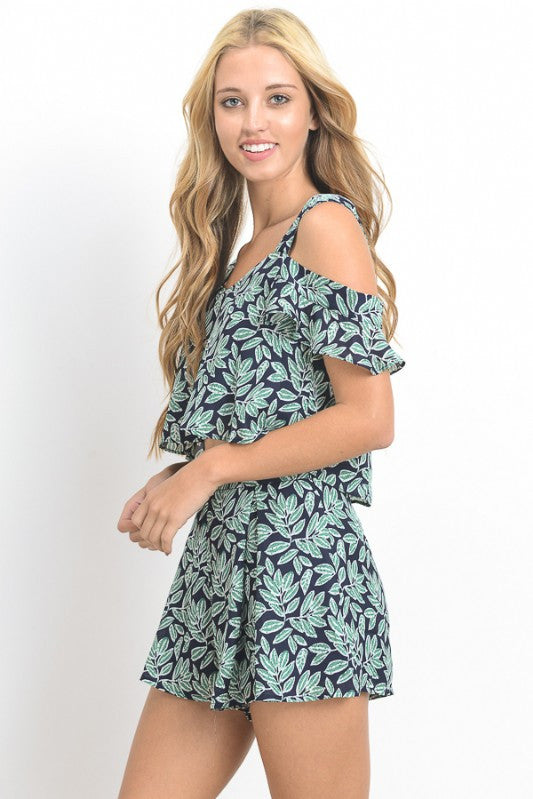 Cold Shoulder Tropical Print Set