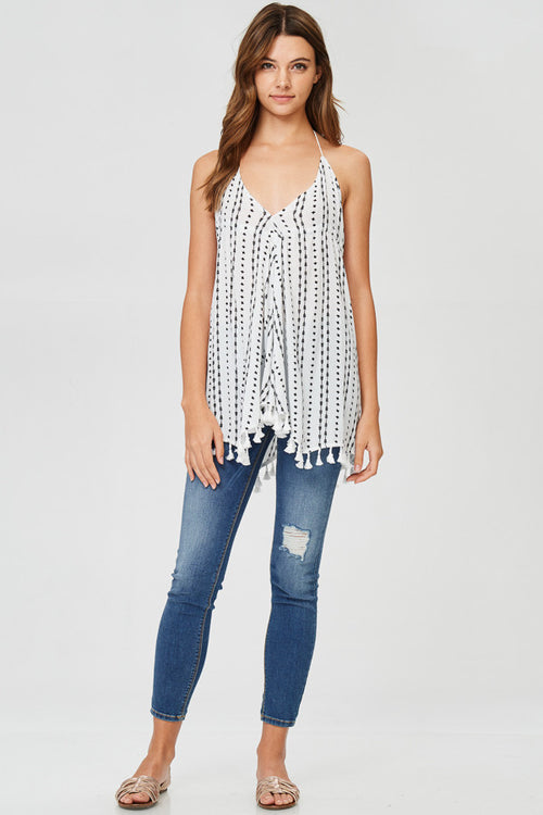 Vertical Dotted Halter Tunic Top