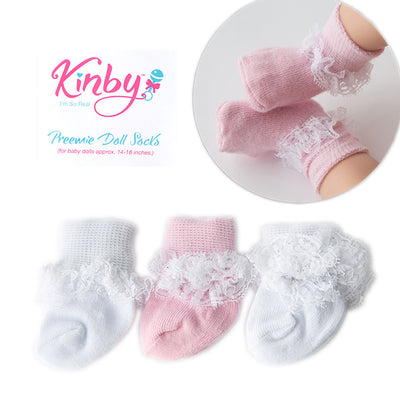 Pink and White Lace Socks - 3 Pack