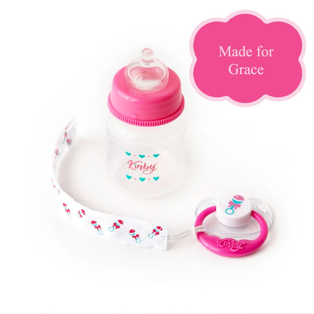 Magnetic Pink Baby Pacifier & Bottle Set for Grace