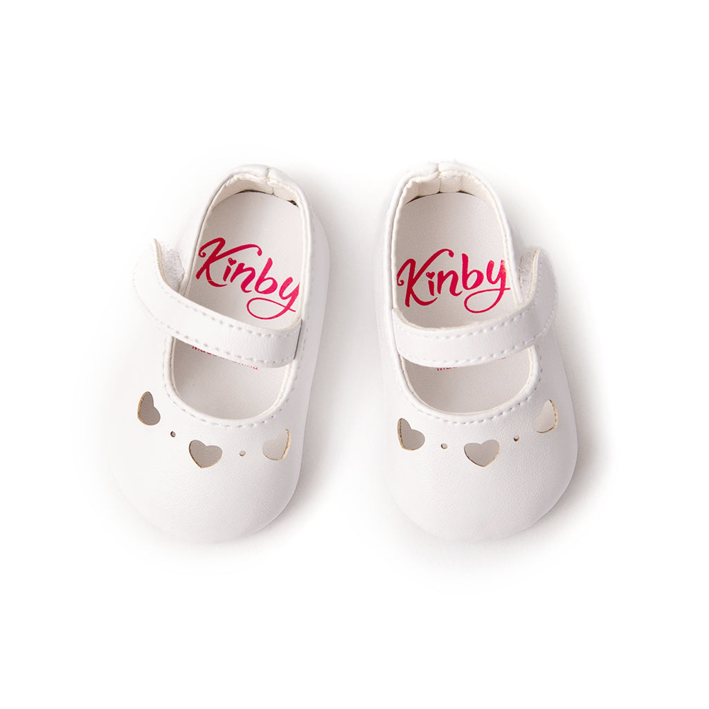 White Mary Jane Shoes with Heart Cut-Outs