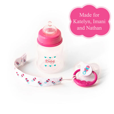 Pink Baby Bottle & Pacifier Set for Open Mouth Babies