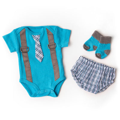 Blue Plaid Suspender & Tie Outfit