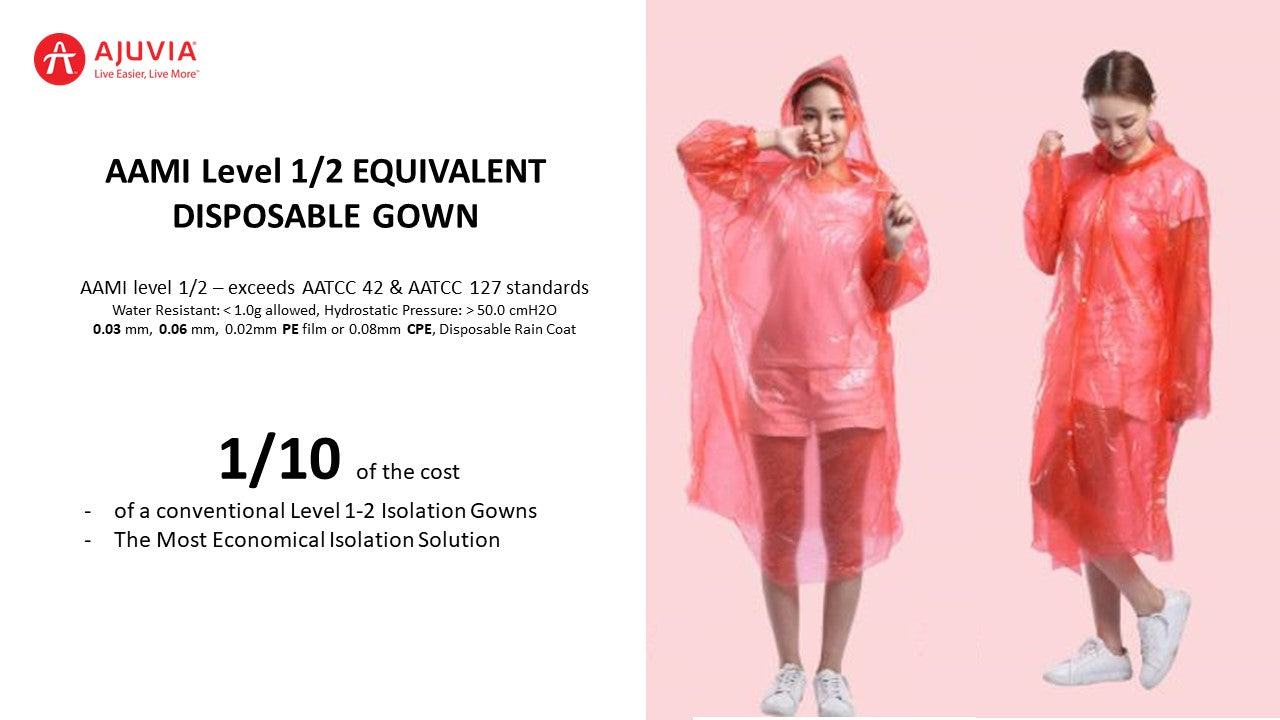 AAMI Level 1-2 Equivalent Disposable Rain Coat