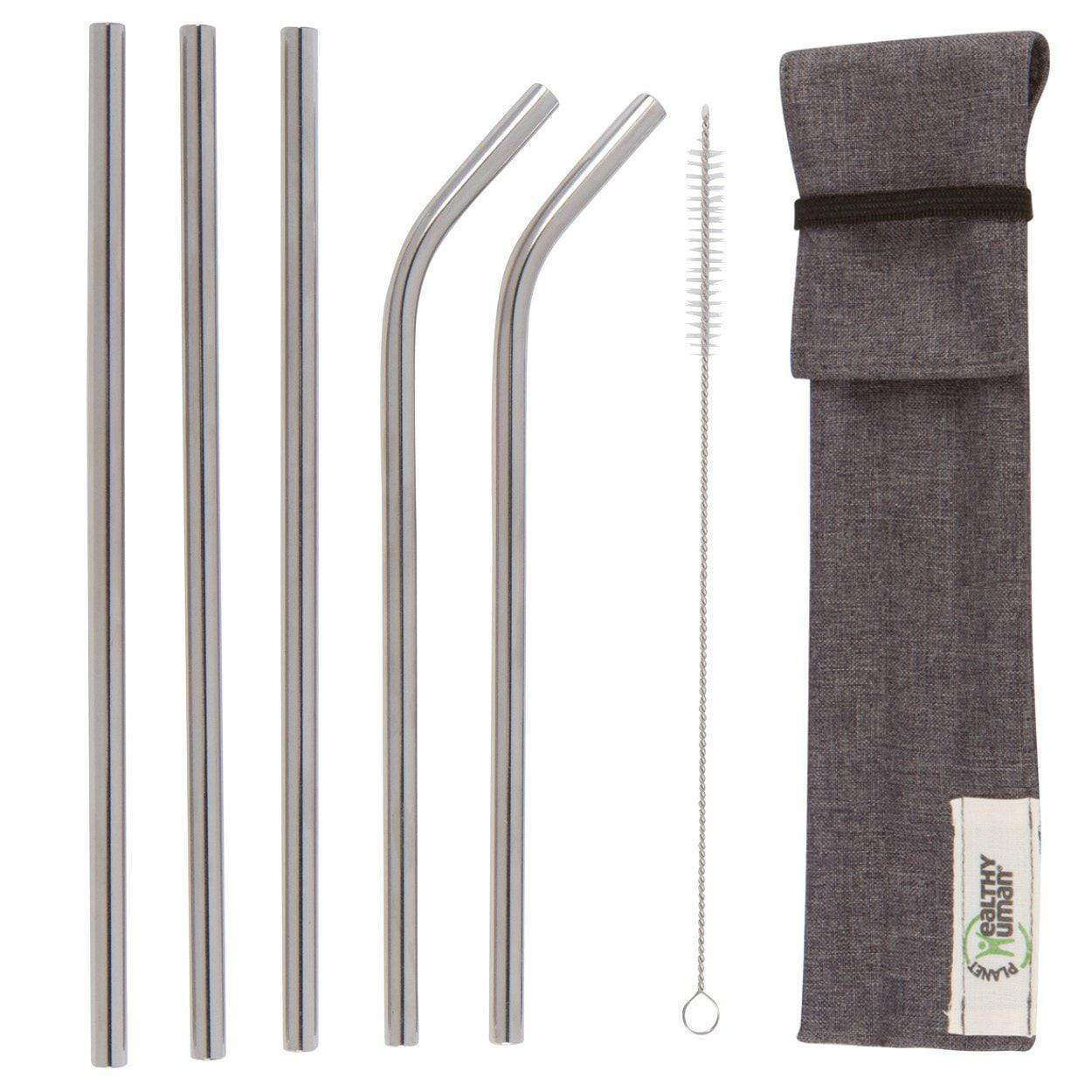 5-Pack Complete Stainless Steel Straw Kit by Healthy Human