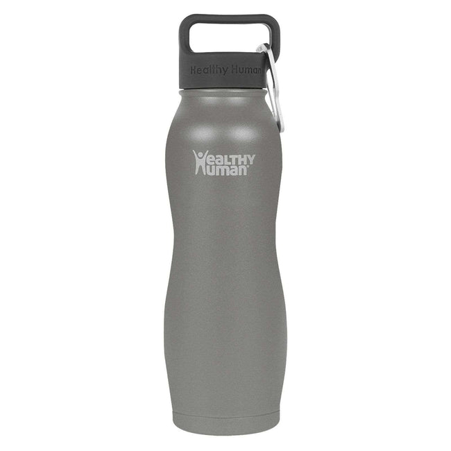 Slate Gray stainless steel insulated curve water bottle by Healthy Human