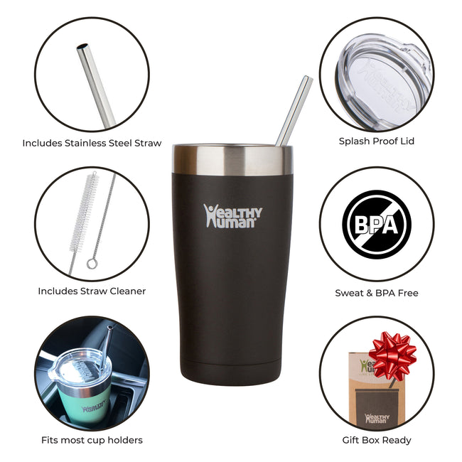 pure black stainless steel water bottle insulated hydration product