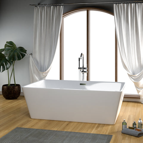 "71"" Asher Acrylic Rectangular Freestanding Tub"