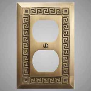 1 Gang Duplex Outlet Wall Switch Plate - Greek Design
