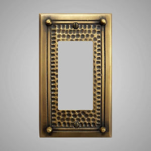 1 Gang Rocker Light Switch Plate - Framed Hammered Design
