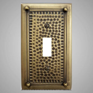 1 Gang Toggle Light Switch Plate - Framed Hammered Design