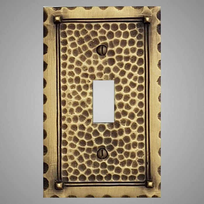 1 Gang Toggle Light Switch Plate - Hammered Design