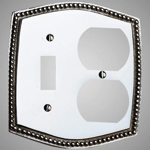 1 Toggle, 1  Duplex Wall Switch Plate - Beaded Design