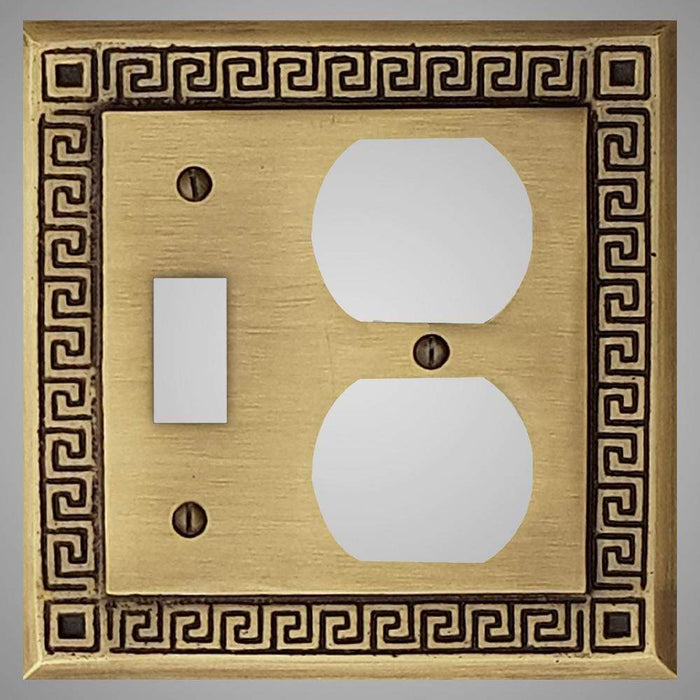 1 Toggle, 1  Duplex Wall Switch Plate - Greek Design