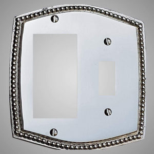 1 Toggle, 1 Rocker Wall Switch Plate - Beaded Design
