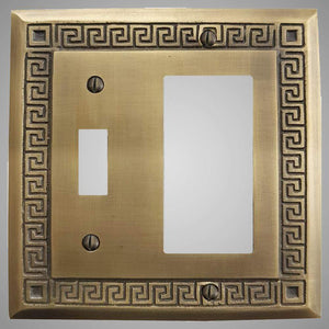 1 Toggle, 1 Rocker Wall Switch Plate - Greek Design