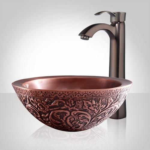 "14"" Arimo Embossed Copper Vessel Sink"