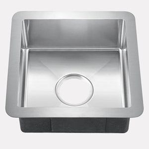 "15"" Cleft Stainless Steel Square Single-Bowl Bar Sink"