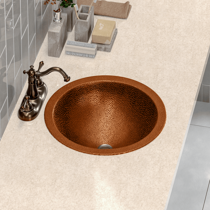 "15"" Mehan Hammered Copper Sink"