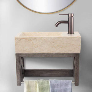 "16"" Eupora Wall-Mount Teak Vanity with Towel Bar and Stone Sink - Gray Wash"