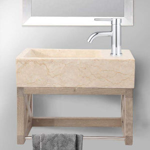 "16"" Eupora Wall-Mount Teak Vanity with Towel Bar and Stone Sink - Whitewash"