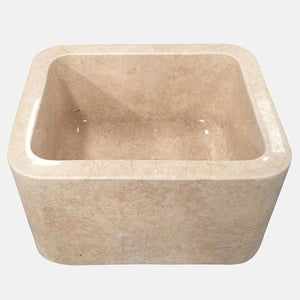 "18"" Hadar Smooth Polished Egyptian Cream Marble Single-Bowl Farmhouse Sink"
