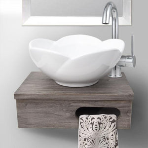 "18"" Thaxton Teak Wall-Mount Vessel Vanity with Towel Bar - Gray Wash"