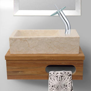 "18"" Thaxton Teak Wall-Mount Vessel Vanity with Towel Bar - Natural Teak"