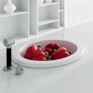 "18"" Yago Fireclay Single-Bowl Drop-In Prep Sink"