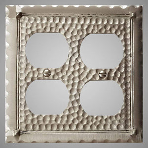2 Gang Duplex Outlet Wall Switch Plate - Hammered Design