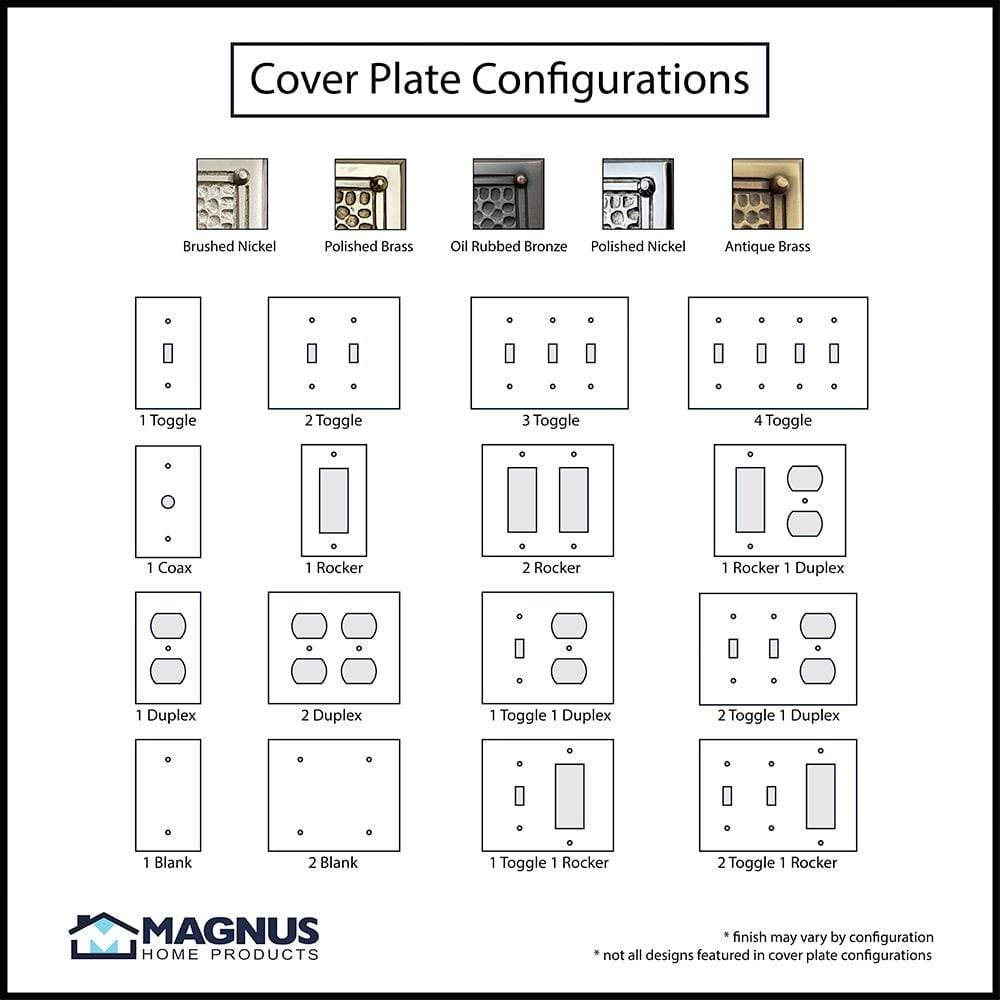 2 Gang Duplex Outlet Wall Switch Plate Hammered Design Magnus Home Products