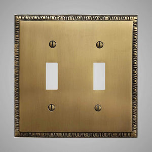 2 Gang Toggle Light Switch Plate - Egg & Dart Design