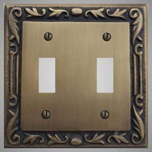 2 Gang Toggle Light Switch Plate - Floral Design