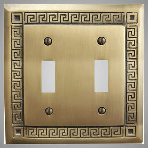 2 Gang Toggle Light Switch Plate - Greek Design