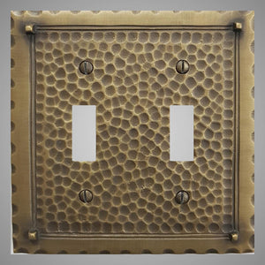 2 Gang Toggle Light Switch Plate - Hammered Design