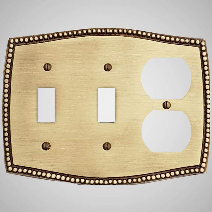 2 Toggle, 1 Duplex Wall Switch Plate - Beaded Design