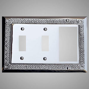 2 Toggle, 1 Rocker Wall Switch Plate - Greek Design