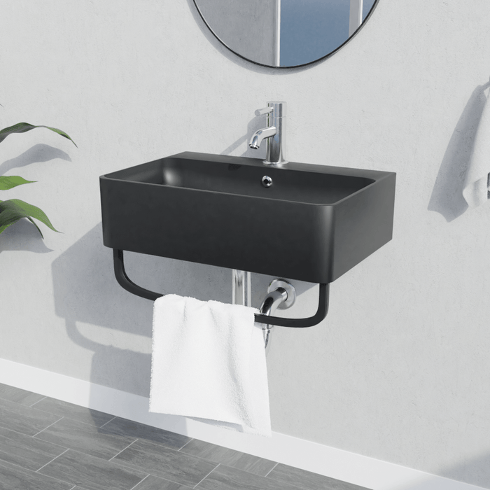 "20"" Cowen Wall-Mount Black Vitreous China Sink with Black Powdercoat Steel Towel Bar"