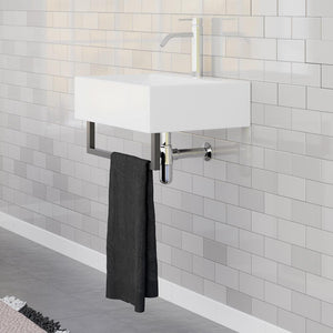 "22"" Amma Wall-Mount Vitreous China Sink with Black Powdercoat Steel Towel Bar"
