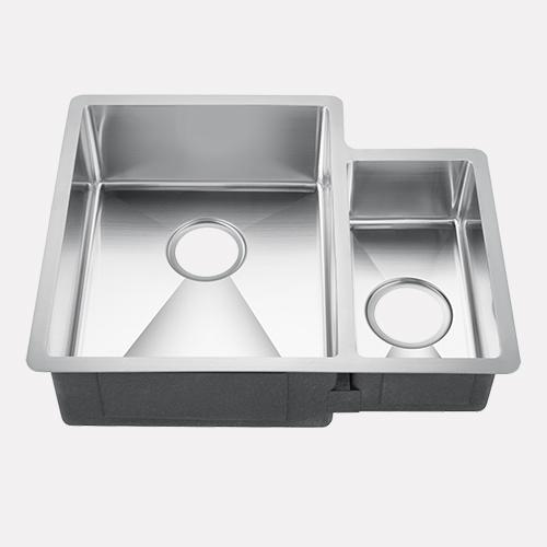 "23"" Rednal Stainless Steel Offset Double-Bowl Undermount Sink"