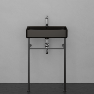 "24"" Arminto Black Vitreous China Console Bathroom Sink with Black Powdercoat Steel Stand"