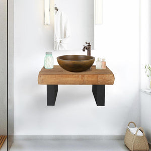 "24"" Auter Recycled Teak Wood Wall-Mount Vanity for Vessel Sink - Rustic Finish"